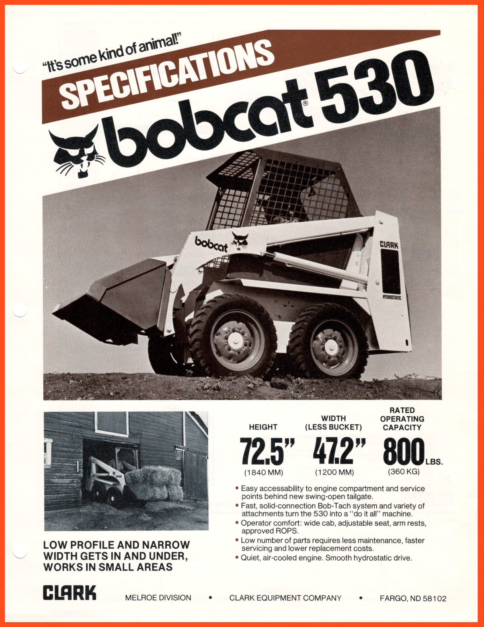 Bobcat 530 (1980) Skid-Steer Specifications @ RVM, LLC | River Valley Machine
